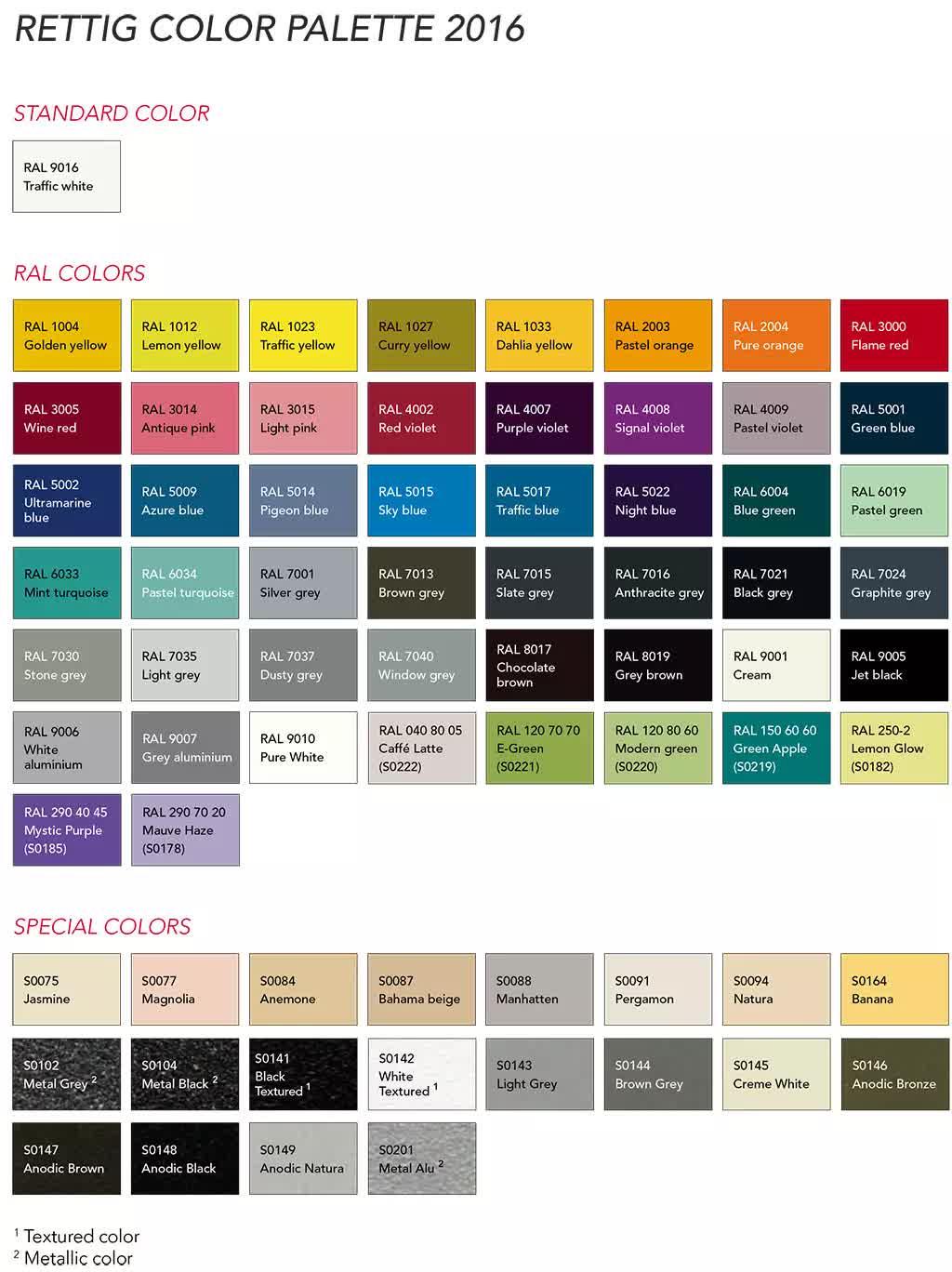 Палитра возможных цветов радиаторов